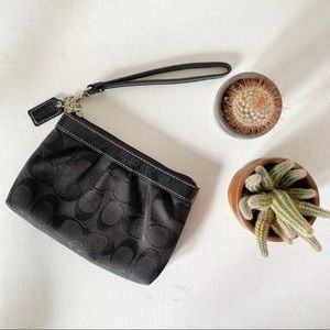 Coach Black Signature Logo Wristlet